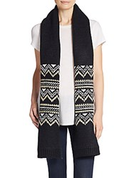 Cole Haan Fair Isle Jacquard Knit Scarf Black Ivory