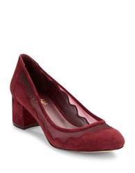 424 Fifth Vinney Mesh Accented Suede Pumps Burgandy