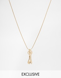Chained And Able Mini Key And Spoon Necklace Gold