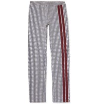 Valentino Logo Print Virgin Wool Twill Drawstring Trousers Navy