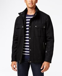 Cole Haan Faux Leather Trim Coat With Removable Hood Black
