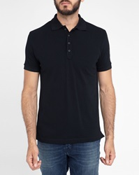 Diesel Black T Panfyl Short Sleeve Polo Shirt With Navy White Trim