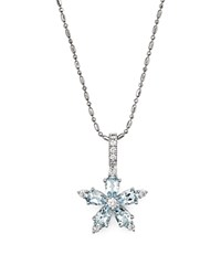 Bloomingdale's Aquamarine And Diamond Flower Pendant Necklace In 14K White Gold 18 Blue White