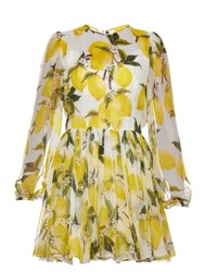 Dolce And Gabbana Lemon Print Silk Chiffon Mini Dress Yellow Print