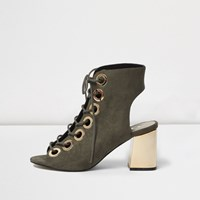 River Island Womens Khaki Metallic Heel Lace Up Shoe Boots