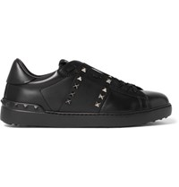 Valentino Rockstud Untitled Leather Sneakers Black