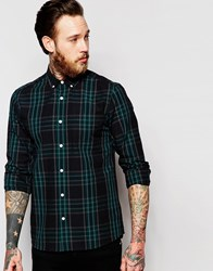 Asos Check Shirt In Navy With Long Sleeves In Regular Fit Navy