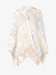 Peter Pilotto Wool Angora Blend Knitted Cape Multi Coloured Camel White Grey