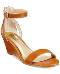 Thalia Sodi Areyana Two Piece Wedge Sandals Only At Macy's Women's Shoes Cognac