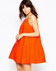 Asos Tiered Linen Sundress Orange