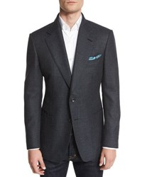 Tom Ford Windsor Base Textured Melange Blazer Navy Teal Navy Teal