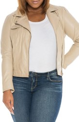 Slink Jeans Plus Size Women's Crop Leather Moto Jacket Ivory