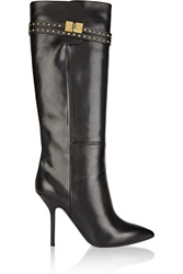 Emilio Pucci Glossed Leather Knee Boots Black