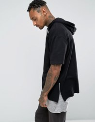 Asos Oversized Short Sleeve Hoodie With Side Zips Black