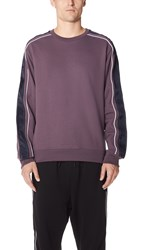 3.1 Phillip Lim Crew Neck Sweatshirt With Track Stripe Mauve