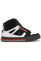 P.E Nation Dc Faux Shearling Trimmed Leather And Suede Sneakers Black