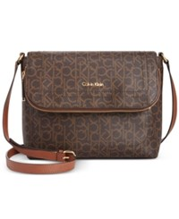 Calvin Klein Messenger Brown Khaki Luggage Saffiano