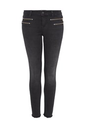 Hallhuber Cropped Skinny Jeans With Zippers Black