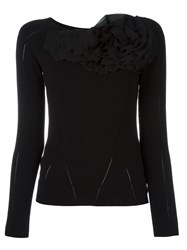 Blumarine Fine Knit Ruffle Applique Jumper Black