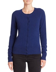 Lord And Taylor Basic Crewneck Cashmere Cardigan Navy Night