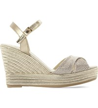 Dune Kitty Wedge Espadrille Sandals Gold Metalic