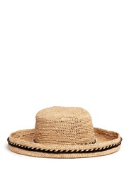 Venna Rope Band Curled Brim Raffia Hat Neutral