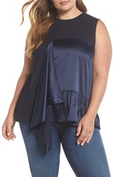 Lost Ink Plus Size Satin Panel Tee Navy