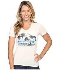 Life Is Good Happy Hour Cool Vee Simply Ivory Women's T Shirt White
