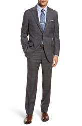 Peter Millar Classic Fit Plaid Wool Suit Grey