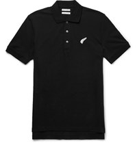 Michael Bastian Batian Embroidered Tretch Cotton Pique Polo Hirt Black