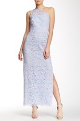 Shoshanna One Shoulder Lace Gown Purple