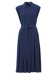 Emilia Wickstead Evanthe Pleated Crepe Midi Dress Navy