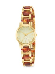 Kate Spade Gramercy Mini Goldtone Stainless Steel And Tortoise Print Acetate Bracelet Watch Gold Tortoise