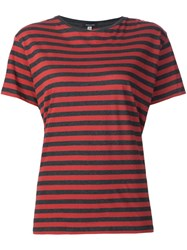 R 13 R13 Striped T Shirt Red