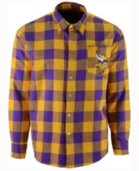 Forever Collectibles Men's Minnesota Vikings Large Check Flannel Button Down Shirt Purple Gold