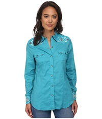Stetson 9579 Solid Turquoise Lawn Shirt Blue Women's Clothing
