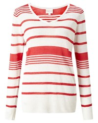 East Stripe V Neck Linen Jumper Red