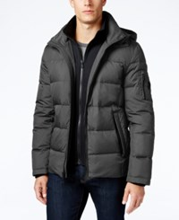 Michael Kors Men's Hooded Puffer Coat With Attached Bib Graphite