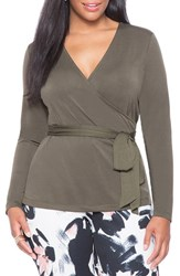 Plus Size Women's Eloquii Belted Faux Wrap Top