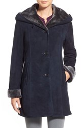 Hide Society Women's Hidesociety Hooded Shawl Collar Genuine Shearling Coat