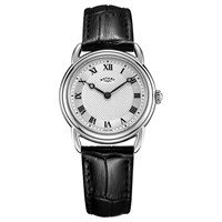 Rotary Ls05335 21 Women's Canterbury Leather Strap Watch Black Silver