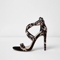 River Island Womens Leopard Print Caged Strap Sandals