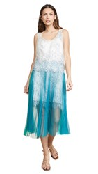 Loyd Ford Corded Lace Dress W Pleated Skirt White Blue Green