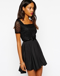 Pussycat London Belted Skater Dress With Sheer Sleeves Black