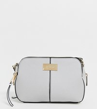 River Island Triple Compartment Across Body Bag In Grey