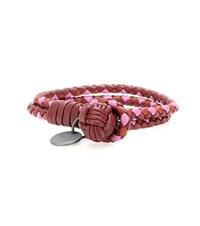 Bottega Veneta Knot Intrecciato Leather Bracelet Red