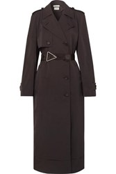 Bottega Veneta Belted Double Breasted Shell Trench Coat Brown