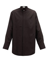 Jil Sander Thursday P.M. Bib Front Silk Poplin Shirt Black