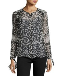Rebecca Taylor Leopard Print Long Sleeve Blouse Black White