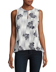 Ellen Tracy Shattered Jewels Floral Print Peplum Top White